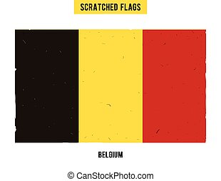 Belgian grunge flag with little scratches on surface A hand...