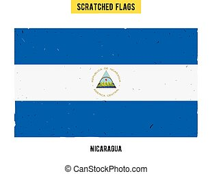 Nicaraguan grunge flag with little scratches on surface A...