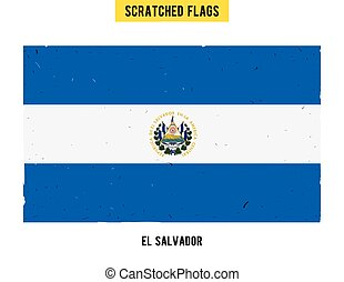 Salvadoran grunge flag with little scratches on surface A...