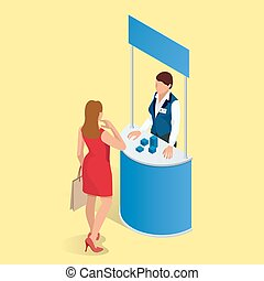 Promotion counter set Trade stand Blank vector poster Flat...