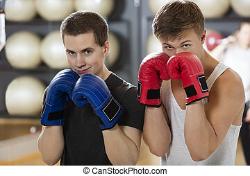 Confident Young Men Boxing In Gym - Portrait of confident...