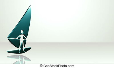 Iconic Wind Surfer On White Stage - background animation for...
