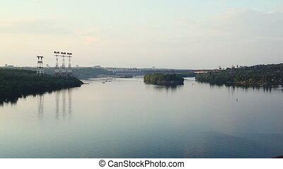 Zaporozhye hydro power plant on the river Dnepr. Ukraine