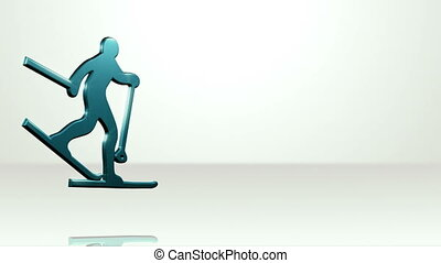 Iconic Skier On White Stage - background animation for home...