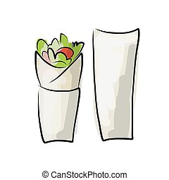 Kebab with pita bread, fast food sketch design Vector...