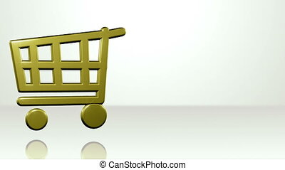 Iconic Shopping Cart On White Stage - background animation...