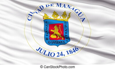 Managua City Close Up Waving Flag - Managua Capital City...
