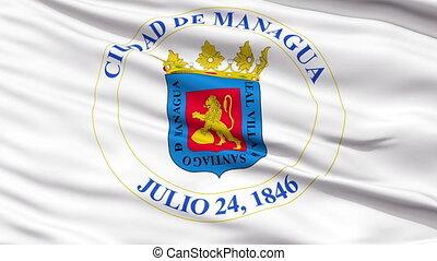 Managua City Close Up Waving Flag - Managua Capital City...