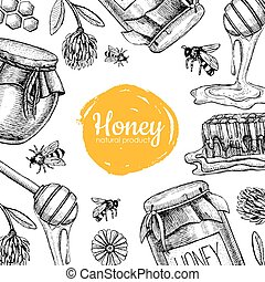 Vector honey bee hand drawn illustrations. Honey banner,...