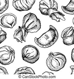 Vector dumplings pattern. Vintage sketch illustration. Hand...
