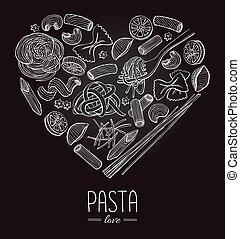 Vector vintage italian pasta restaurant illustration in...