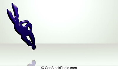 Iconic Diver On White Stage - background animation for home...