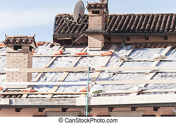 Roof damaged to repair.
