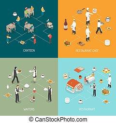 restaurant, concept, 4, isométrique, icônes,...