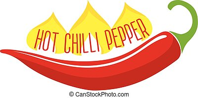 Hot Chili Pepper Pod Single Object - Flaming hot red chili...