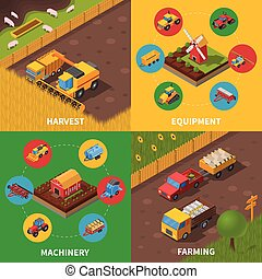 Agricultural Machinery 4 Isometric Icons Square -...