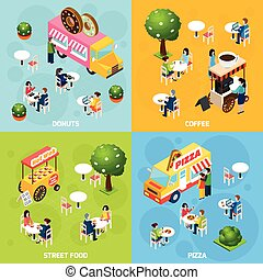 Street Food Isometric 4 Icons Square - Street food trucks...
