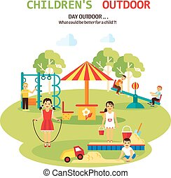 Outdoor Playground Flat Illustration - Color flat...