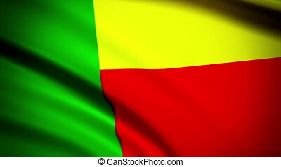 Waving Flag Benin Punchy - National flag of Benin waving in...