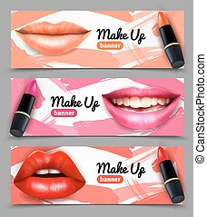 Lips Make Up Horizontal Banners Set