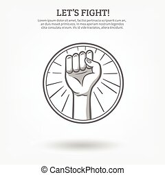 Clenched Fist Poster - Monochrome hand drawn poster with...