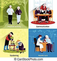 Elderly People Concept Icons Set - Elderly People Icons Set....