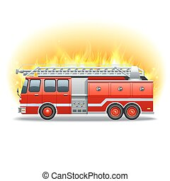 Firetruck in fire - Red firetruck with rescue ladder and...