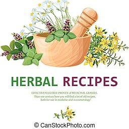 Medicinal Herbs In Mortar Illustration