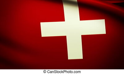 Waving Flag Swiss Punchy - National flag of Swiss waving in...
