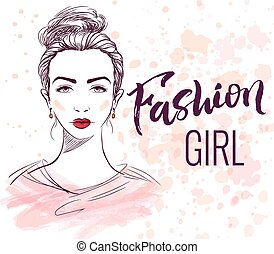 Fashion girl illustration with hand lettering, ink and...