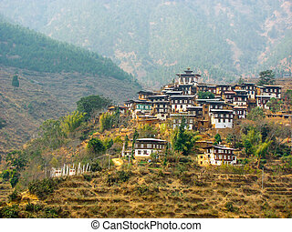 Hillside town in Bhutan with their traditional architecture
