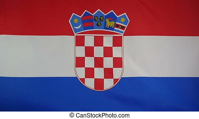 Slowmotion textile Flag of Croatia - Slowmotion of a real...