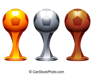 Soccer trophy cups. - Golden, silver and bronze soccer balls...
