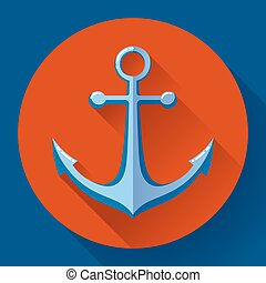 Anchor text icon, vector illustration Flat design style -...