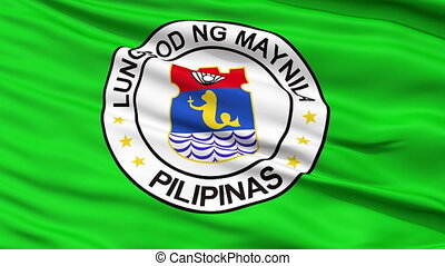 Manila City Close Up Waving Flag - Manila Capital City Flag...