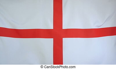 Slowmotion textile Flag of England - Slowmotion of a real...