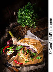 Gyros pita with wild garlic