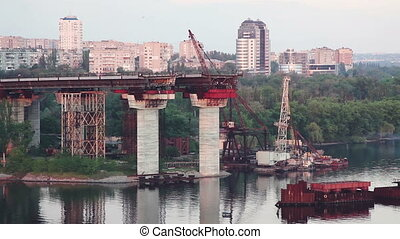 Construction of the bridge. Equipment and facilities. - Type...