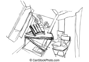 vector sketch of the room with chairs