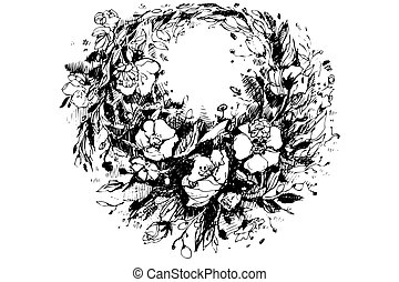 vector sketch of a beautiful wreath of poppies