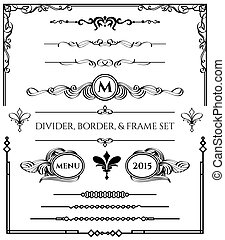 Divider, Border, & Frame Set in Black Version - Decorative...