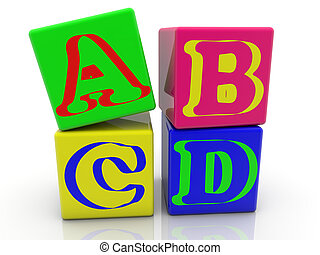 Toy cubes with inscription A,B,C,D