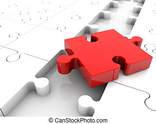 Red puzzle piece on white puzzle
