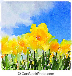 Watercolor painting of daffodils on a sunny day - A digital...