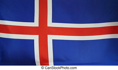 Slowmotion textile Flag of Iceland - Slowmotion of a real...
