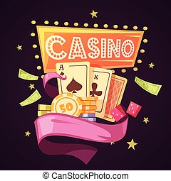 Casino Retro Cartoon Illustration - Sparkling casino with...