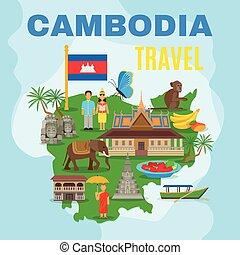 Cambodja, cultureel, reizen, kaart, plat, poster,