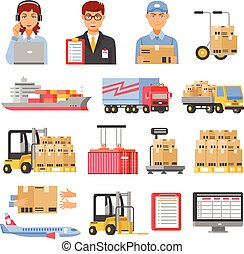 Logistics And Delivery Decorative Icons Set - Logistics and...