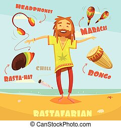 rastafarian, karakter, Illustration, ,