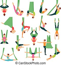 Aero Yoga Decorative Icons Set - Aero yoga isolated...